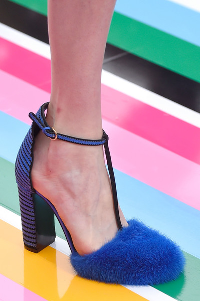 Sandals with wide blue and black striped heel and furry point