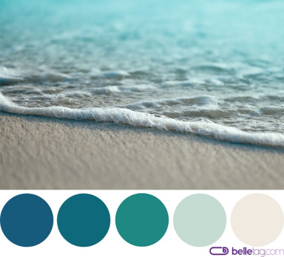 Sea shore, water and sand, along with cool color palette