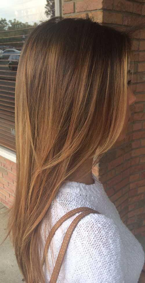 25 best hairstyle ideas for brown hair with highlights belletag straight brown layered hair with golden brown highlights urmus Gallery