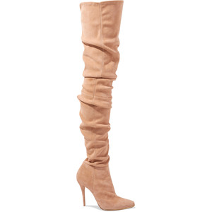 Balmain's thigh high boots in antique pink, with stiletto heel and pointy toe - perfect for a super sexy outfit.