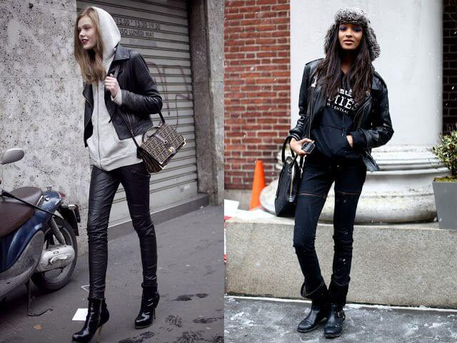 Casual urban style with biker jackets.