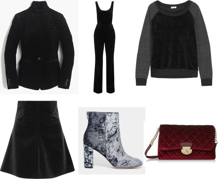Velvet clothes, shoes and handbag