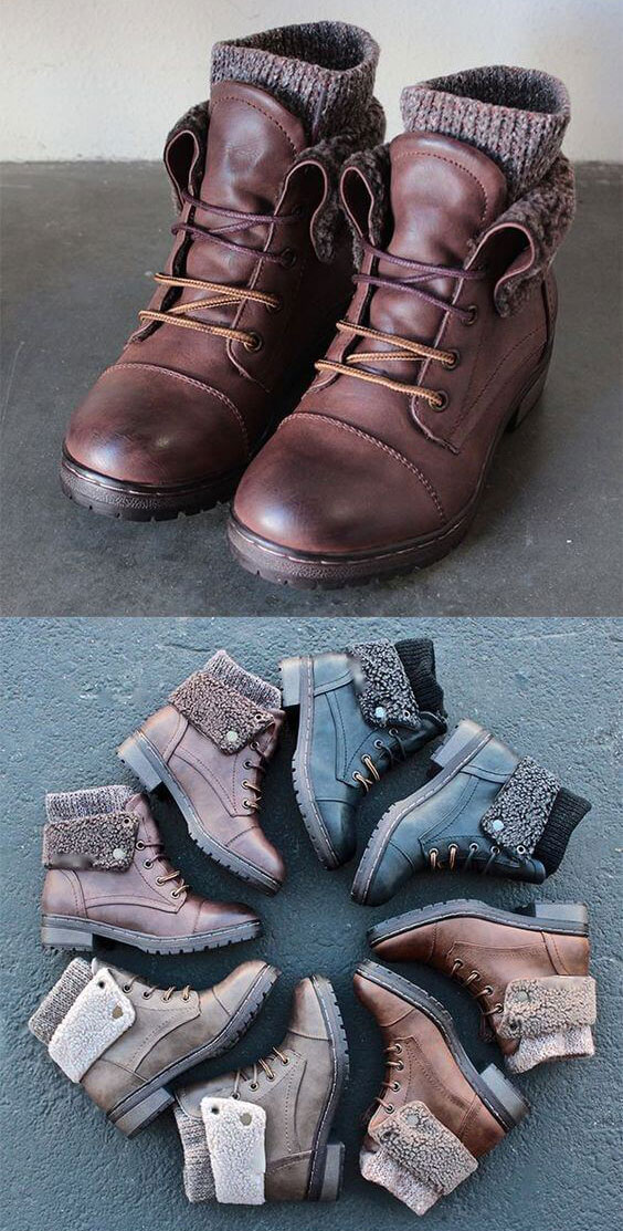 Combat boots made for winter.