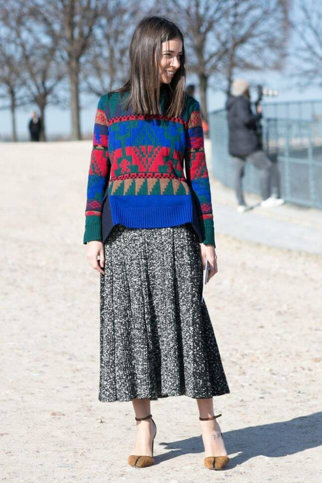 woman in colorful wool sweater