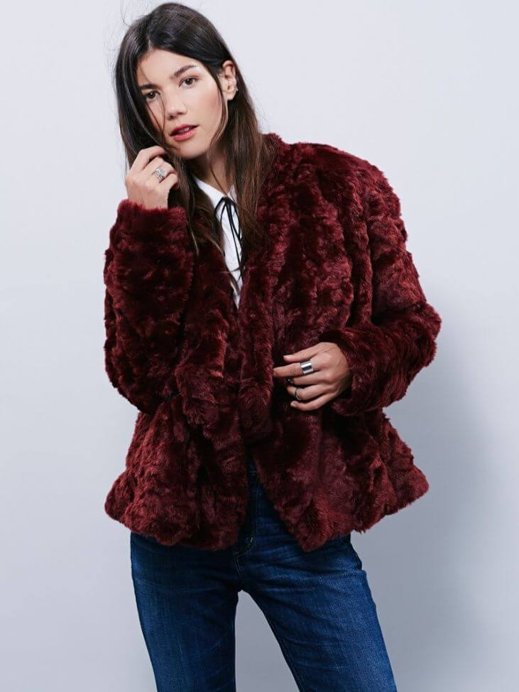 Woman in extra fluffy faux fur coat