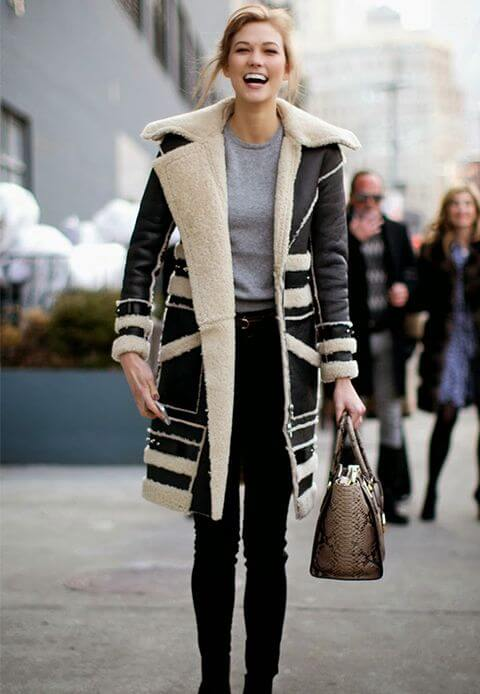 Woman in faux shearling coat