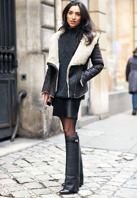 woman in faux shearling short jacket