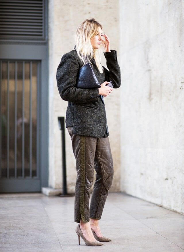 woman in tweed bag-sleeved blazer