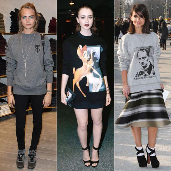 Cara Delevigne, Lilly Collins and Miroslava Duma in dressed-up sweatshirts.