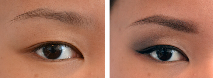 Close-up of a bare eye and an eye with winged eyeliner and a small amount of gray eyeshadow in the crease
