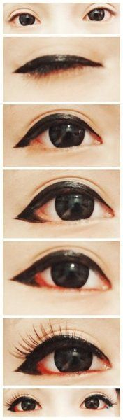 Eyeliner wings don't always have to turn upwards - try the puppy eye look!