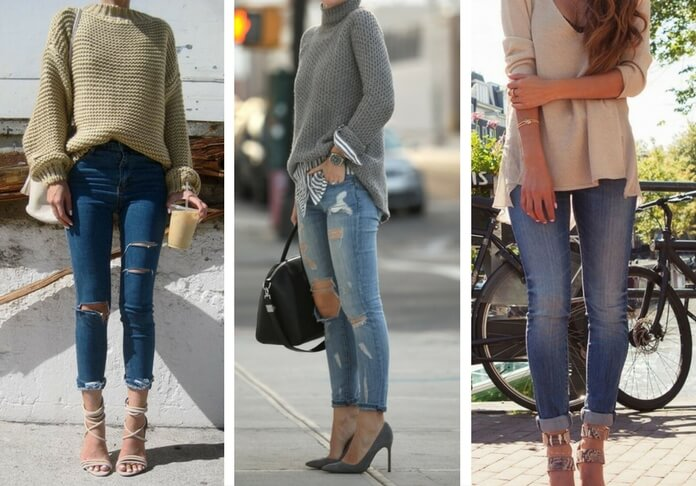 Three outfits with cuffed jeans