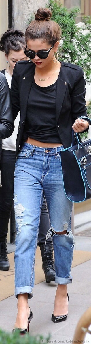 Boyfriend jeans get the Hollywood treatment as Selena Gomez hits the streets in stiletto heels.