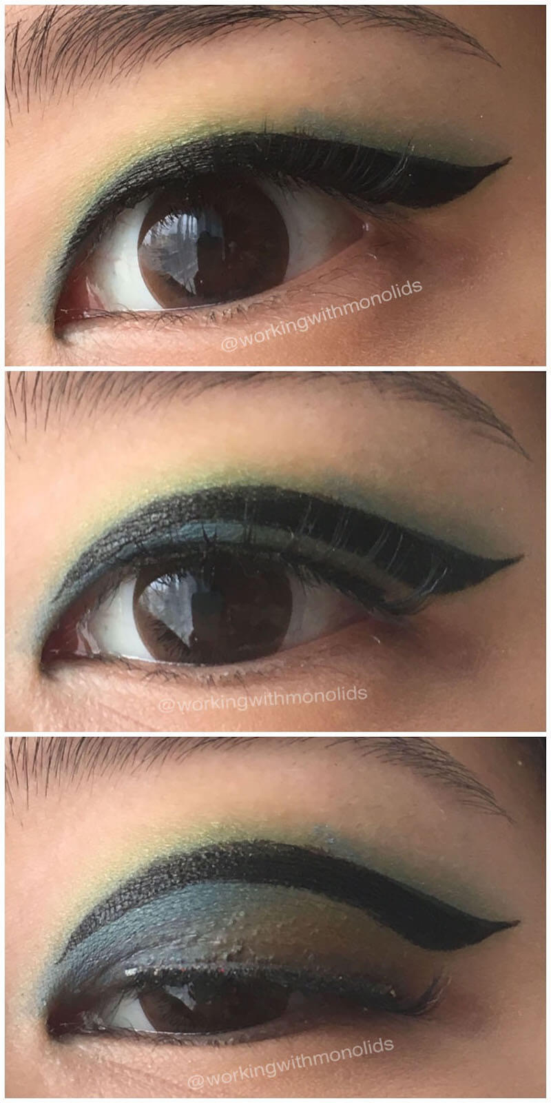 Three close-up images of an eye revealing that the placement of the eyeliner is above the mobile lid