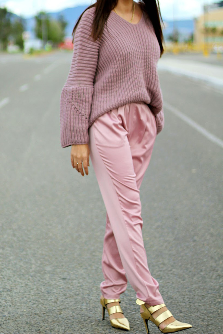 Woman in pink outfit