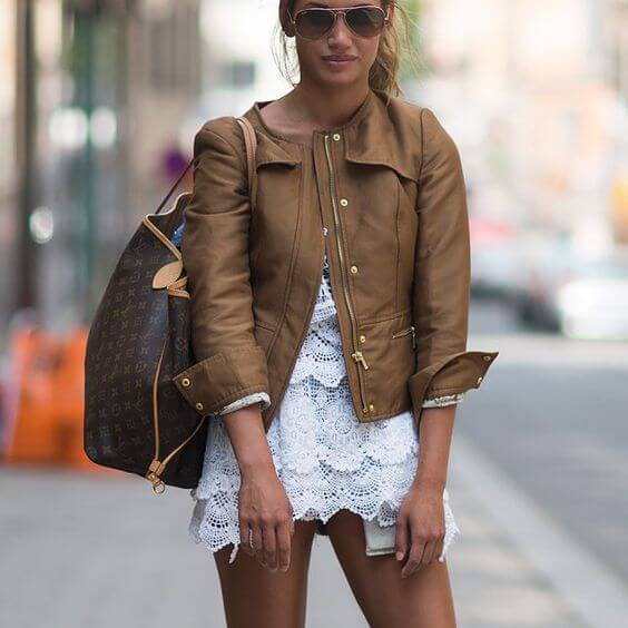 Wearing Brown Leather Jacket: 25 Inspiring Looks | BelleTag