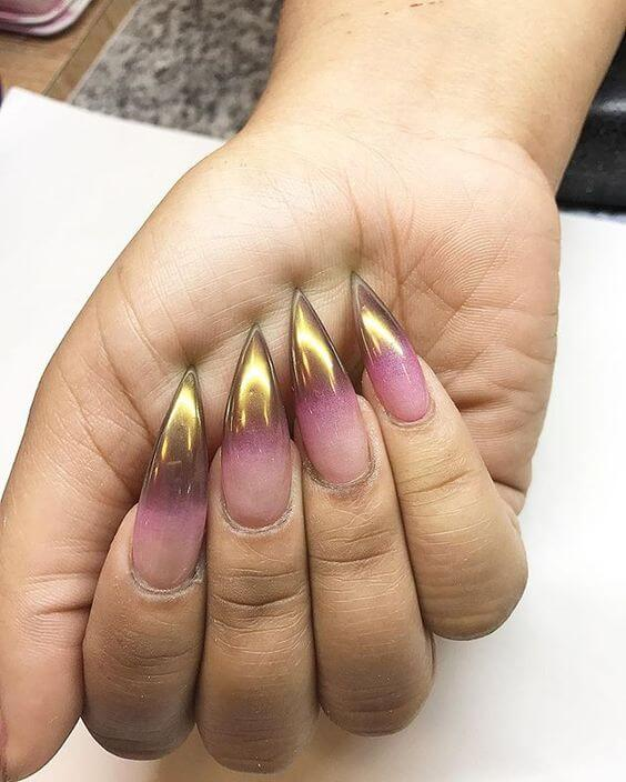 Luminous Metallic Mirror Tips Clear Pink And Gold Gradient Nails In A Long Claw Shape