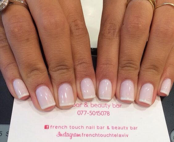 Keep things light and airy by using a very light pink to go with your white tips.