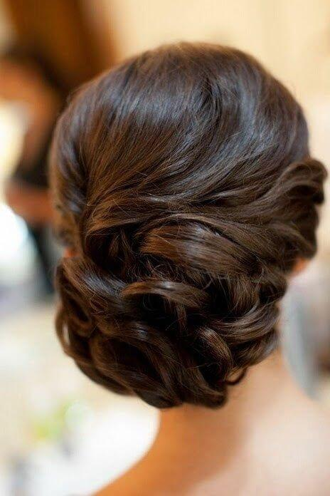 French twist updo curled and parted to one side
