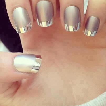 gray manicure with silver mirror tips