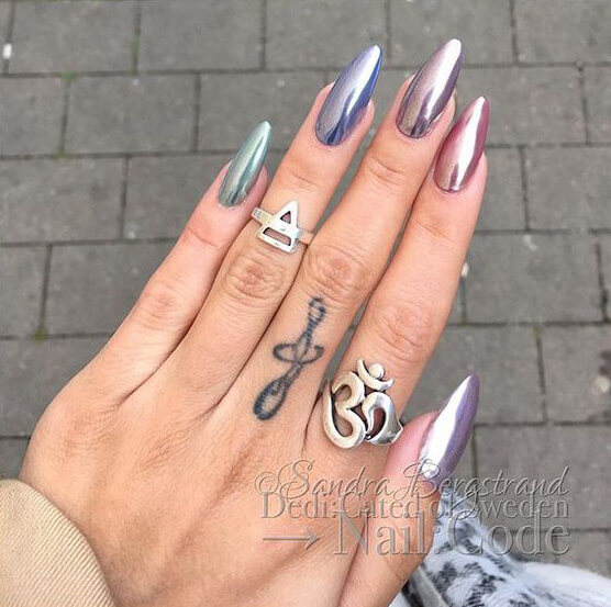 Dreamy Multicolored Pastel Mirror Nails Green Blue Silver Pink And Purple Manicure With Reflective Surface