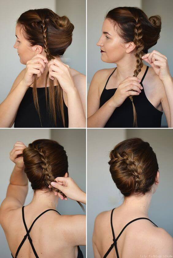 Step-by-step infographic on how to create a French twist with braided detail