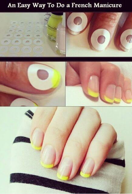 Step-by-step infographic on how to take circular stickers and yellow nail polish to get a minimalist manicure with yellow tips