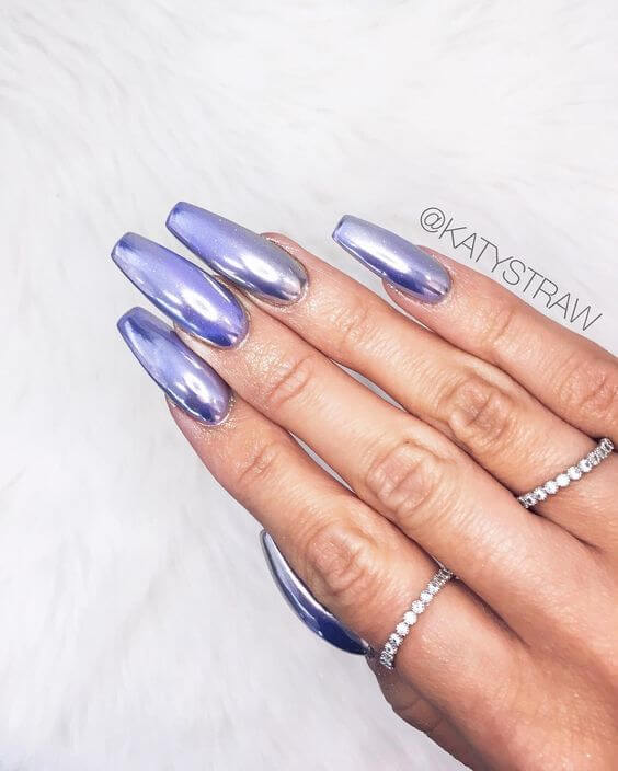 Long metallic lavender nails with square tips