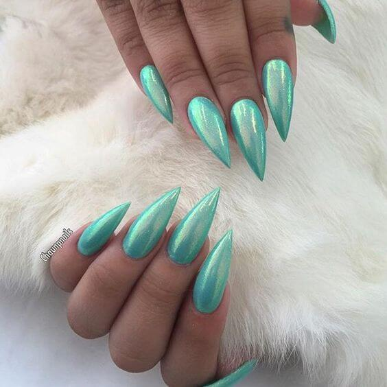 26 awesome mirror and metallic nail art ideas belletag metallic blue green nail design prinsesfo Choice Image