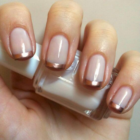 pale pink nail polish with copper metallic tips - 35 Splendid French Manicure Designs: Classic Nail Art Jazzed Up