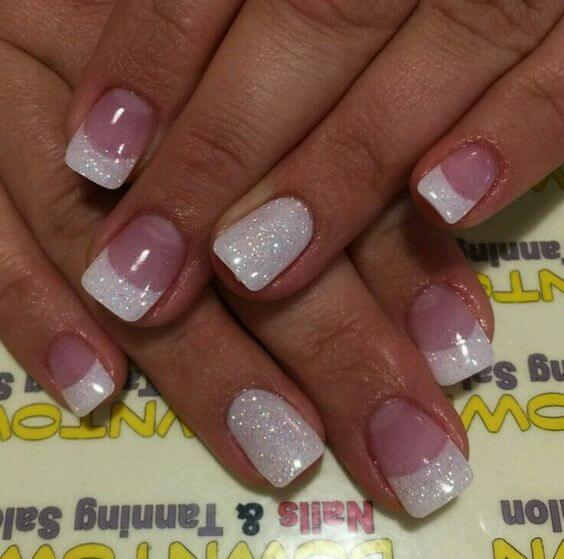 35 splendid french manicure designs classic nail art jazzed up pink gel manicure with glittery white tips and accent nail prinsesfo Images