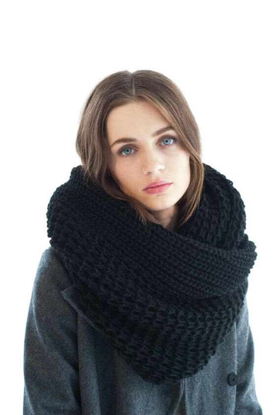 Pretty woman with a cute black maxi scarf