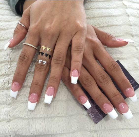 Use a slightly longer tip to change up the classic French manicure.