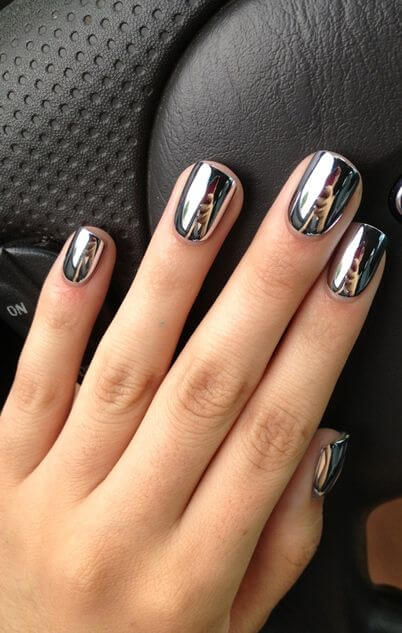 Looking into these shiny silver nails is like looking into a mirror.
