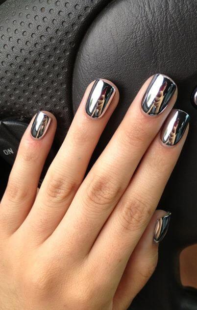Silver chrome nail polish
