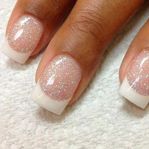 Square Nails With White Tips And Pink Glitter Bases