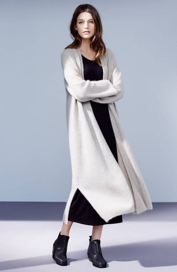 Classical black and white with a long cardigan for covering up.