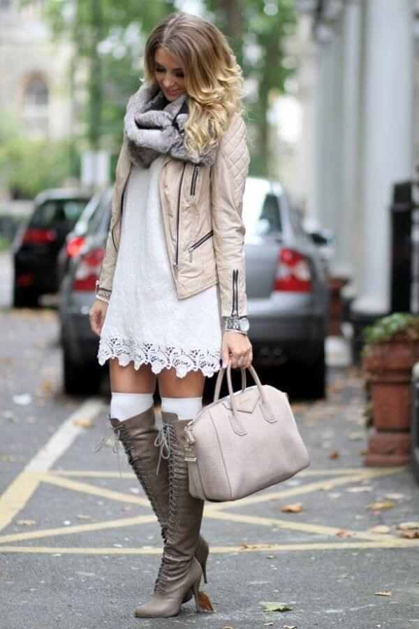 This is a great way to style your dresses during winter.