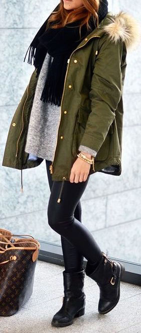 A fur-trimmed parka in trendy olive green adds some warmth to this cold-weather look.