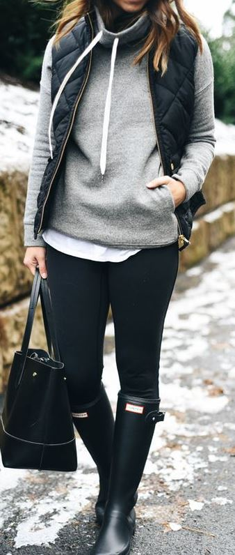 A cowl-neck hoodie plus a puffer jacket adds warmth and style to this ensemble.
