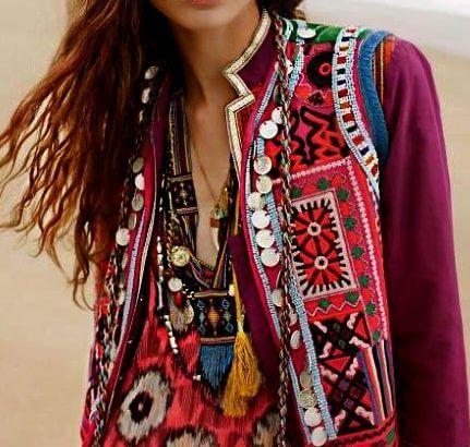 Bohemian woman in purple patchwork vest
