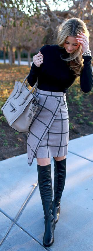 Stylish grey plaid plays perfectly over a basis of solid black.