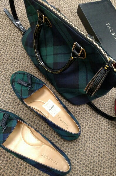 Dark green and blue ballerinas with a matching bag