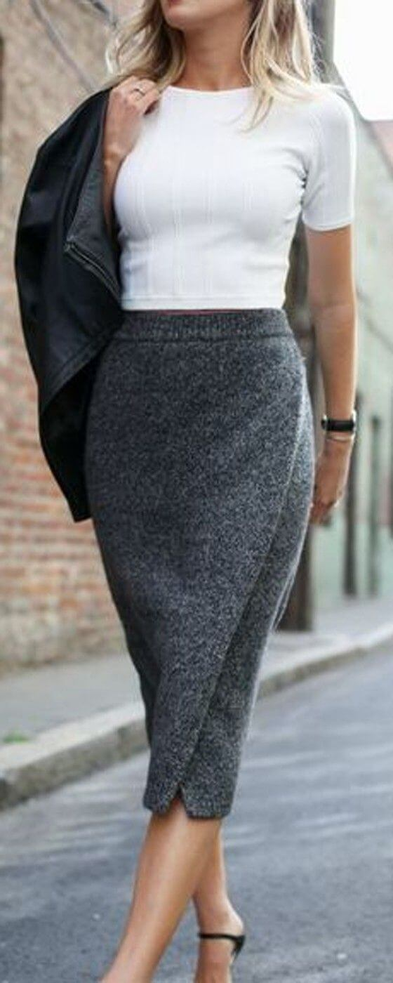 A woolen pencil wrap skirt needs only a simple white T-shirt for ultimate style.