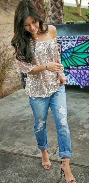 Sequins are always a good idea, especially when wearing boyfriend jeans.