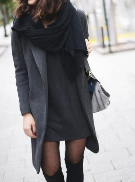 A simple grey woolen shift dress serves as a stylish blank canvas.