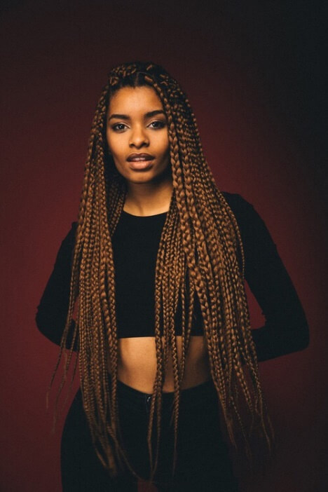 Peep these beautifully long caramel braids on model Jazzmine Leigh