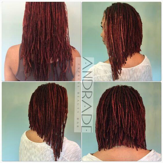 If you're a natural girl, get inspired by this perfect lob. This model has gone for dark red locs cut into an angled long bob with layers.