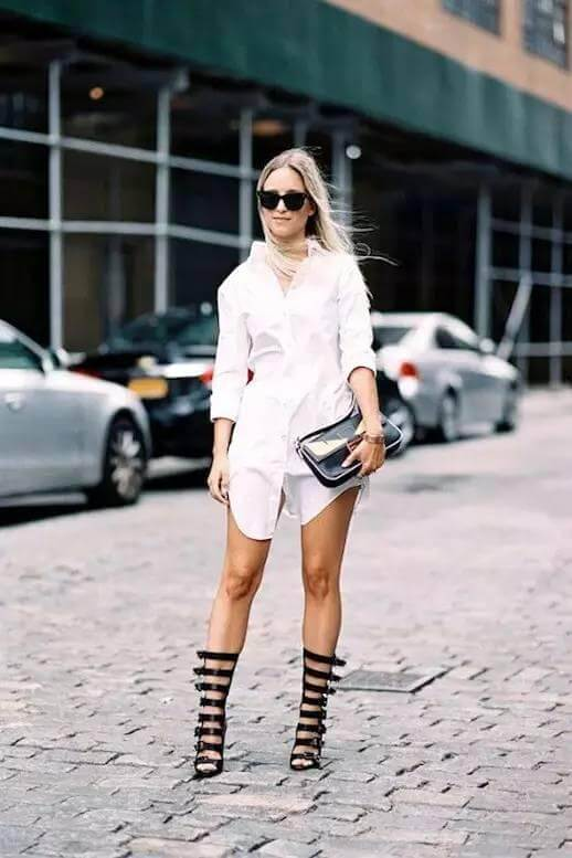 Add a pair of gladiator shoes to make your look edgy