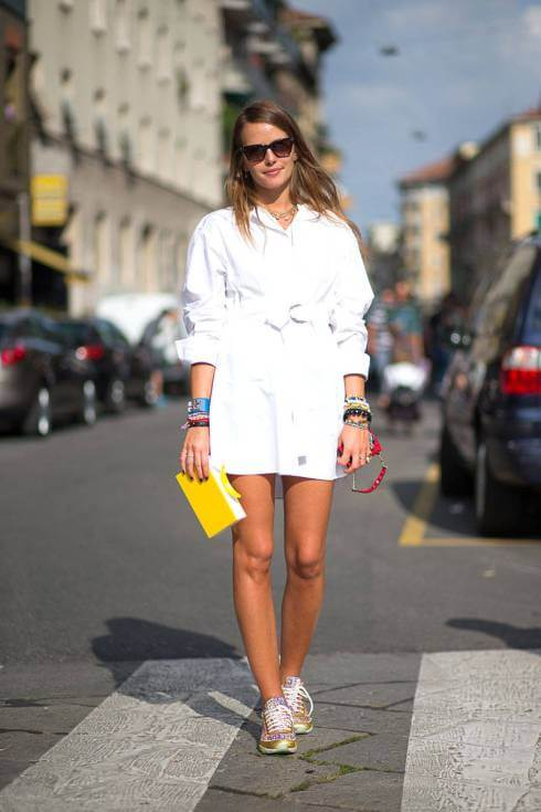 White shirt dresses look fabulous with sneakers
